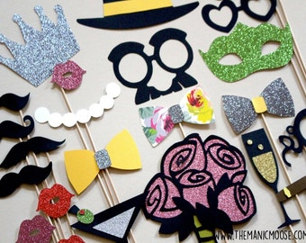 Limited Edition Photo Booth Props ~ Deluxe Set of 23 Props ~ Vintage Glam