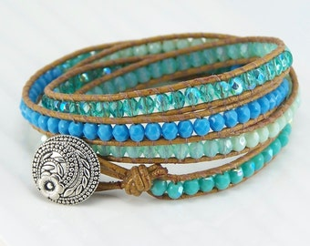 Vaci Wrap - Tan Leather, Wrap Bracelet, Beaded Bracelet, Bohemian Jewelry, Aqua, Leather Bracelet, Woven Bracelet, Czech Glass