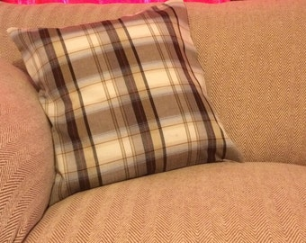 Handmade Plaid Tartan Cushion Cover Brown Beige Russet Red Feature