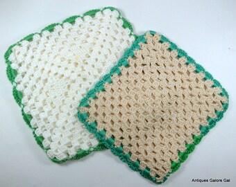 Vintage Crochet Pot Holders, Hot Pads, Beige, Green Trim, Retro Kitchen Decor (724-12)