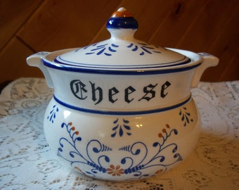 Vintage Heritage Royal Sealy Rare Cheese Bowl w Lid Blue Scrolls Orange Flowers Grandma Jenny's Kitchen Collectible Bowl with Lid