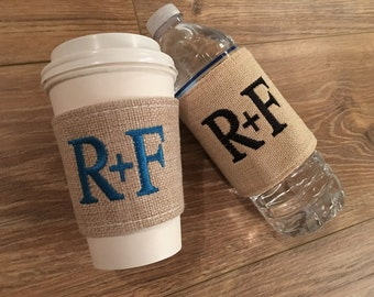 Embroidered burlap water bottle koosies! Can also use with cans! Single letter monograms, 3 letter monograms, names, etc... customize colors
