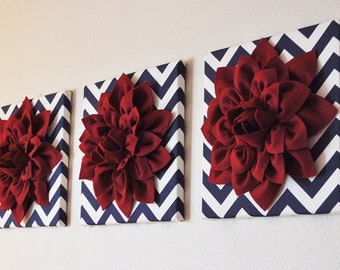"SET OF THREE Wall Art. Cranberry Dahlia on Navy and White Chevron 12 x12"" Canvas Flower Decor."