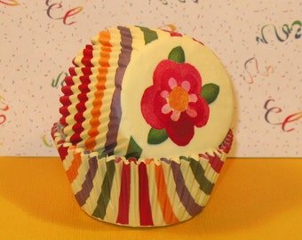 Jewel Tone Striped Cupcake Liners (40)