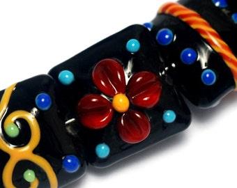 Seven Black Based Fiesta Pillow Beads - Handmade Glass Lampwork Beads Sets 10201204