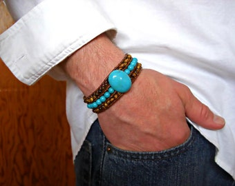 Howlite Turquoise, Tiger Eye 3 Rows Brown Leather Beaded Cuff Men's Bracelet, Men's Jewelry,Men's gift, Gift for him