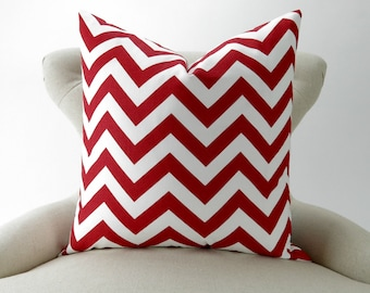 Red Zigzag Pillow Cover, Accent Pillow, Cushion Cover, Euro Sham, Decorative Throw -MANY SIZES- Chevron lipstick red & white, Premier Prints