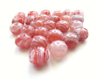 Red, Pink and White Striped Czech Glass Squashed Melon Beads, 12mm x 8mm - 25 pieces