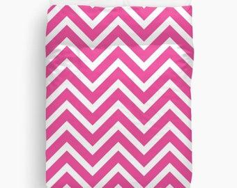 Fuchsia Duvet Cover, Chevron Bedding, Fuchsia Decor, Teen Duvet Cover, Girls Bedding, Girls Room Decor, Dorm Duvet Cover, Pink Bedding