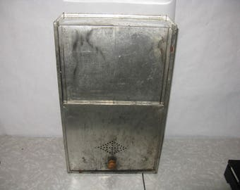 Vintage metal flower bin drawer for hoosier style cabinet