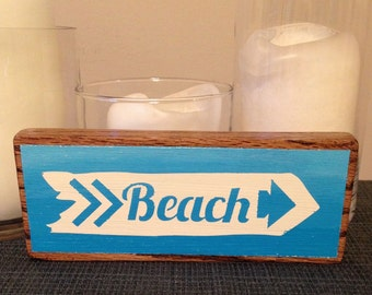 Beach Arrow Repurposed Painted Wood Sign (Ombre or 1 Color)