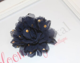 Navy and Gold Metallic Chiffon Flower