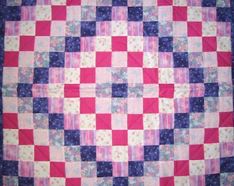 Baby Girl Quilt in Pink and Purple Baby Blanket Nursery Bedding