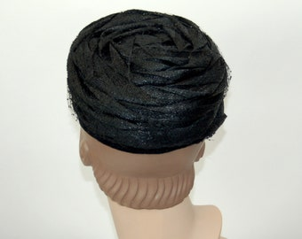 1960s hat black straw glossy spiral rose pillbox hat with veil by Flo-Denis