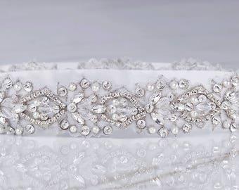 Rhinestone Sash, Bridal Belt, Bridal Sash, Beaded Bridal Belt, Wedding Dress Sash, Crystal Sash, Silver Bridal Belt, Pearl Bridal Sash