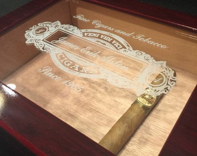 Cigar Humidor Box, Personalized Cigar Box, Glass Cigar Storage, Mahogany Box, Groomsmen Best Man Gift, Engraved Case, Men's Christmas