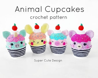 Animal Cupcakes PDF Pattern, crochet, amigurumi
