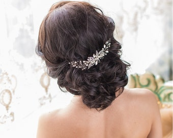 Bridal hair comb  Bridal hair piece  Bridal headpiece  Leaf hair comb  Crystal hair comb  Leaf hair piece