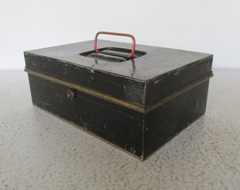 Black Metal Spice or Document Lock Box Vintage Tole Tin