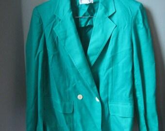 SALE Vintage Christian Dior Suit Jacket, Vibrant Green Blazer, Power Suit, Size M, Medium, Size 8, Size 10, Size 12