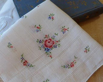 Linen Handkerchief Drawnwork Printed Floral Roses Delicate Vintage Hanky Red green blue 60s Calico Mothers Day Gift