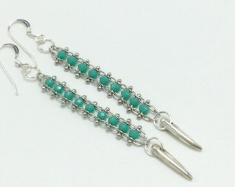 Teal and silver linear earrings, chain, ladder