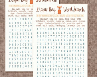 Baby Shower Game Woodland Animals Word Search Game
