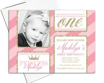 printable 1st birthday invitations | little girls first birthday invitation pink and gold | princess birthday invitations - WLP00303