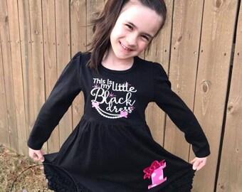 Little Black Dress | Dresses for Girls | Dress for Girl | Monogrammed Dress | Monogram Shirt | Little Girl Dress