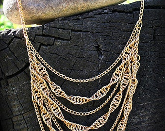 Gold Colored Spiral Chainmail Necklace