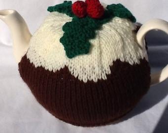 Christmas Pudding Tea Cosy - 4-6 cup pot, tea cozy for Christmas, knitted tea warmer