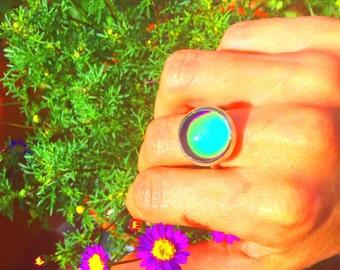 Handmade sterling silver mood ring,handmade mood ring, sterling silver rings