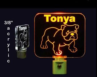 Personalized Bulldog Night Light, Kids Lamp, Handmade,  Dog, Animal