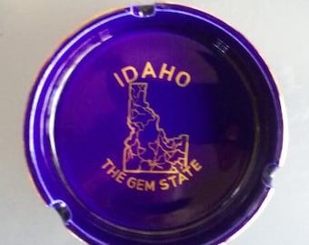 Idaho Souvenir Ashtray, Vintage Home Decor, The Gem State, Dark Deep Blue with Gold Trim Tray, Trinket Tray, Coin Catcher, Travel Souvenir