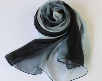 Black and Grey Gradient Color Silk Scarf - Black and Gray Silk Chiffon Scarf - AS51