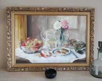 Impressive Still Life Oil Painting Breakfast table Signed by Gyórik 1999 Vintage look with Free Shipping