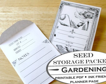 Seed Storage Packet Templates - Printable Garden Planner Page for Garden Journals