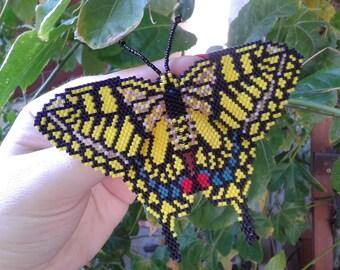 Swallowtail Beaded Butterfly Brooch