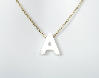 Mother of Pearl Initial Letter on Sterling Silver Chain