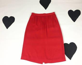 80's neon red silk skirt 1980's fluttery paisley embossed fluttery skirt / high 28 waist / pencil / sexy secretary / straight below knee / L