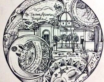 The TUCSON Arizona Temple Motif Print