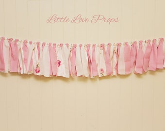 Pink Rag Banner Photography Prop Shabby Chic Pink and White Girl Party Rag Garland