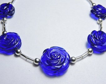 5 Pieces Extremely Beautiful Cobalt Blue Quartz Hand Carved Rose Flower Shaped Beads Size 13X13-17X17 MM