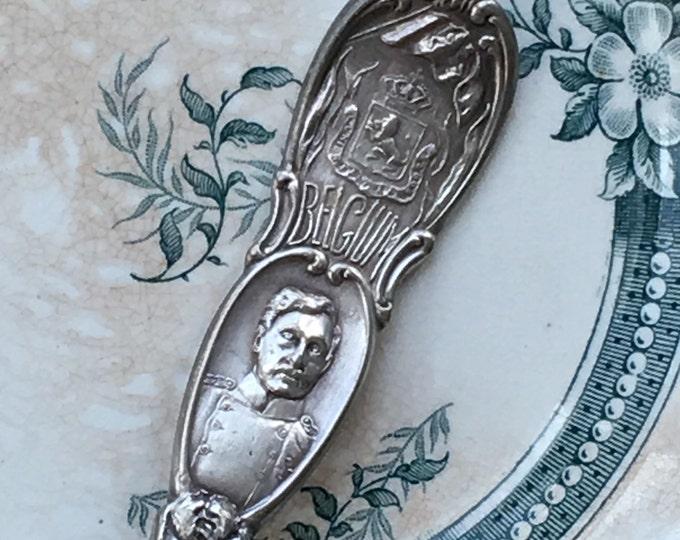 Belgium Silver Spoon King Albert I Antique Souvenir