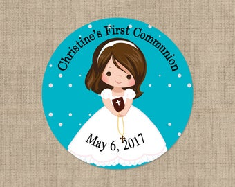First Holy Communion, Round Stickers, Girls Holy Communion Stickers, Communion Favors, Party Favors, Round Labels, Confirmation Labels