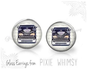 TYPEWRITER Earrings, Typewriter Jewelry, Typewriter Stud Earrings, Typewriter Post Earrings, Typewriter Pierced Earrings, Gift for Writer