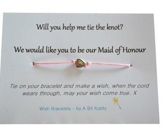A Bit Krafty Maid of Honour invite, wish bracelet