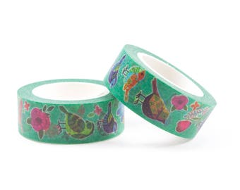 Cute green washi tape with birds