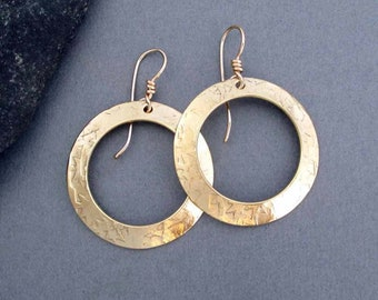 Classic Gold Hoop Earrings in Hammered Brass and 14k Gold Fill Textured Metal Round Dangle Earrings Artisan Handmade Everyday Jewelry