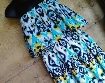 Tribal print strapless calf length dress